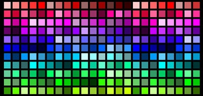 A grid of multicolored squares