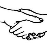 a line drawing of two hands shaking by Aidan Jones