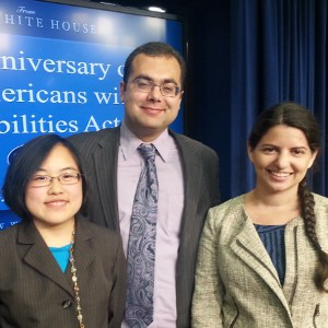 Champions of Change Lydia Brown (left) and Zoe Gross (right) with ASAN President Ari Ne'eman (center)