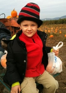 London McCabe at a pumpkin patch