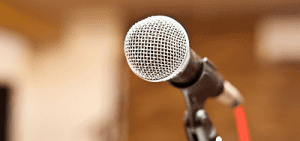 Photo of microphone with blurred background