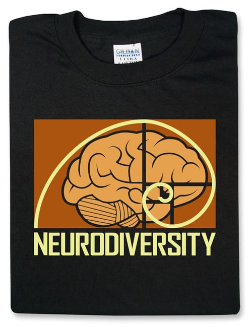"""A shirt, folded to feature the design, in black. The unisex t-shirt featuring a brain with a Fibonacci sequence spiral on top of it, with the word """"neurodiversity"""" below in gold."""