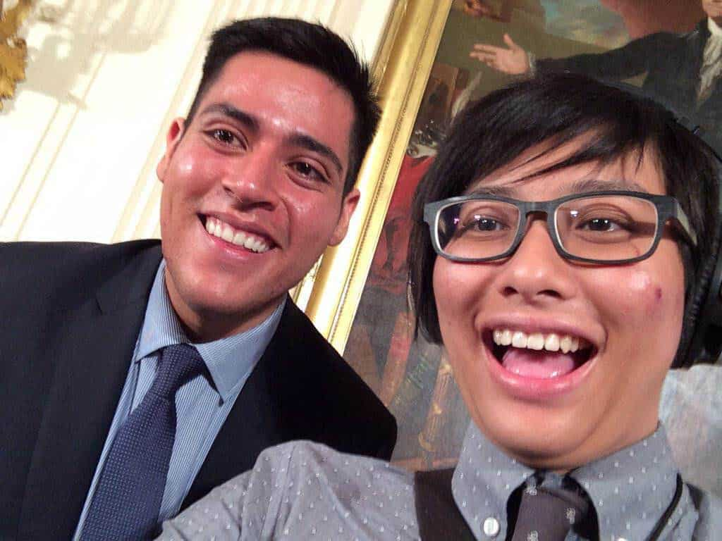 [Elly smiles alongside Manuel Contreras from 1vyG, the inter-Ivy, first-generation college student network.]