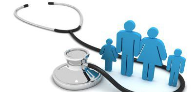 a stethoscope around four figures in the shape of a family