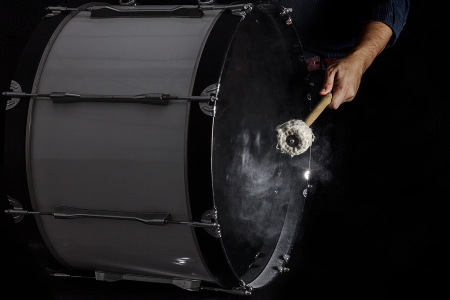 Drum Sticks Hit On The Bass Drum