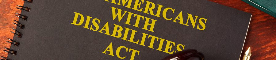"A notebook that says ""The Americans with Disabilities Act"" on the front"