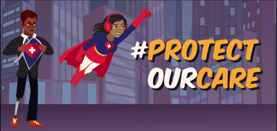 Two visibly disabled superheroes protecting a city. Text reads #PROTECT OUR CARE
