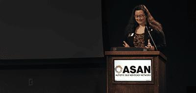 ASAN Executive Director Julia Bascom giving a speech at ASAN's 2017 Gala