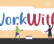 Four disabled people work together to paint the words #WorkWithUs on a wall