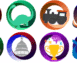 The eight badges for the levels of our new membership program!