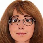cartoon rendering of a close up of Meg Evan's face